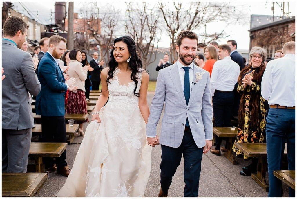 recessional after blanc Denver wedding photo