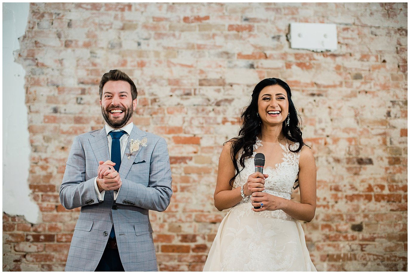 bride and groom speech at Blanc Wedding venue by Denver Wedding Photographer Jennie Crate