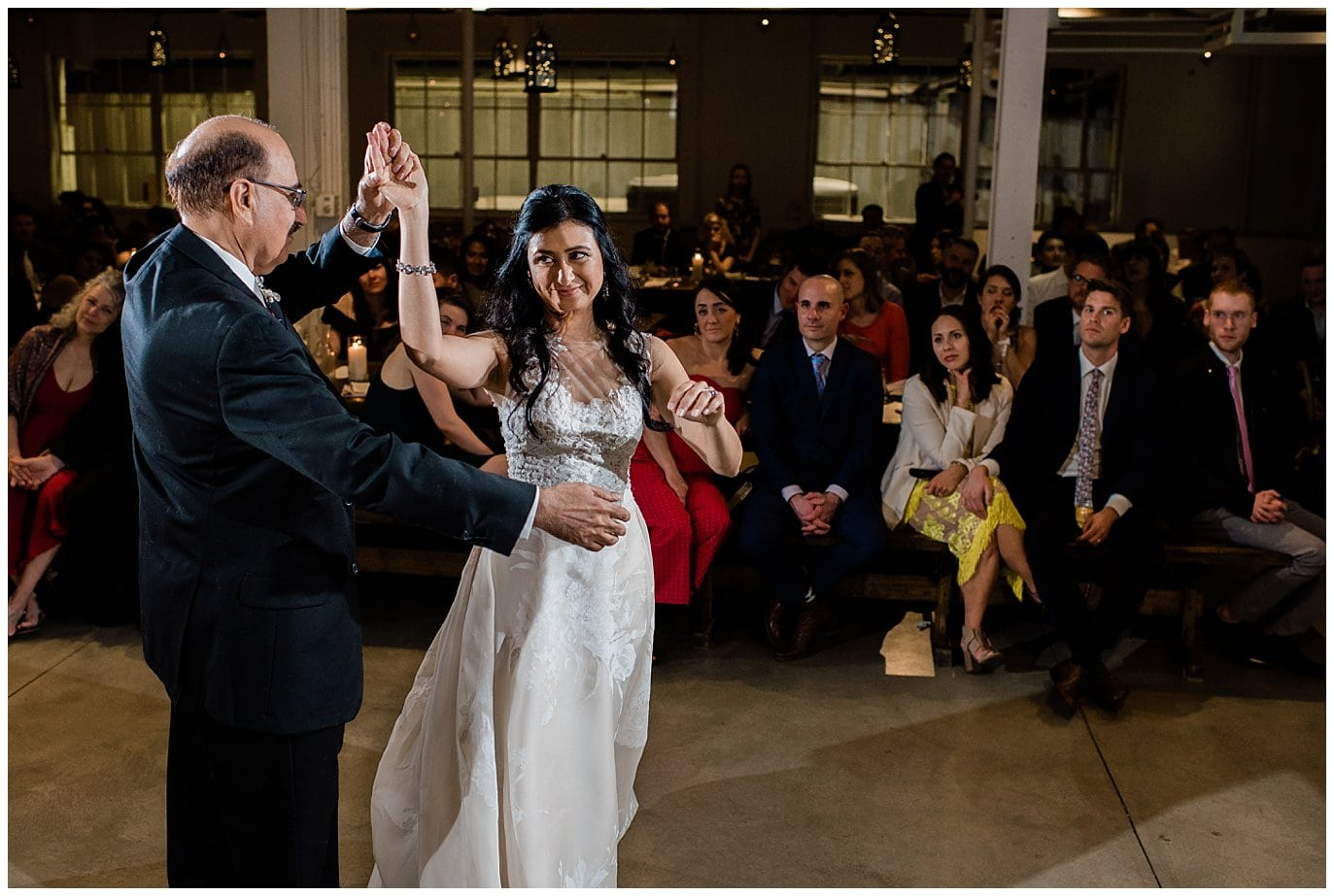 father daughter dance at Denver wedding reception blanc wedding photographer Jennie Crate