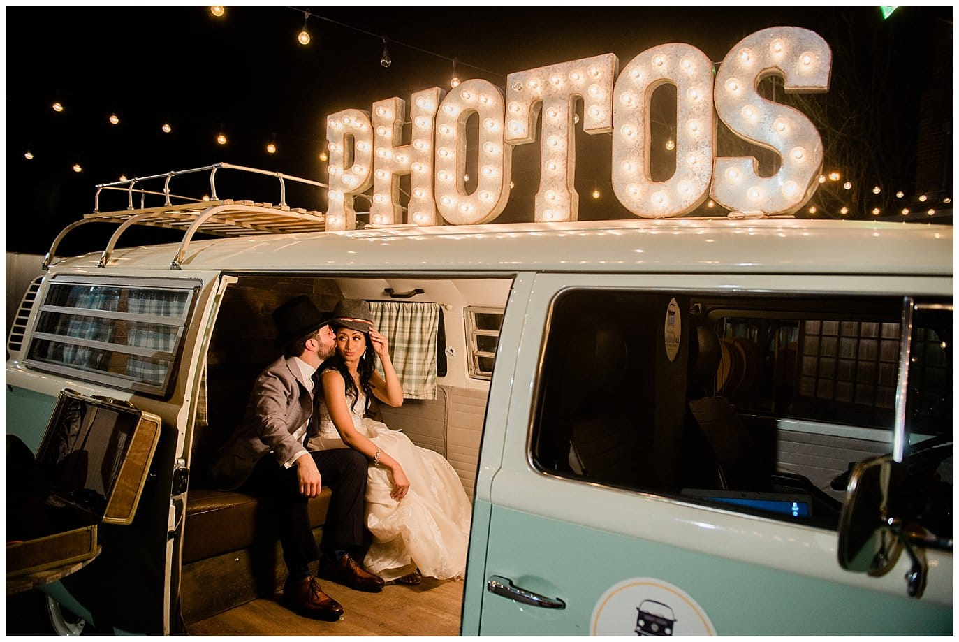 wedding couple in photo booth bus by Blanc Wedding Photographer Jennie Crate