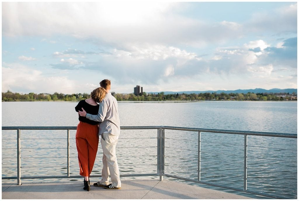 sunset engagement photo at Denver Sloan Lake
