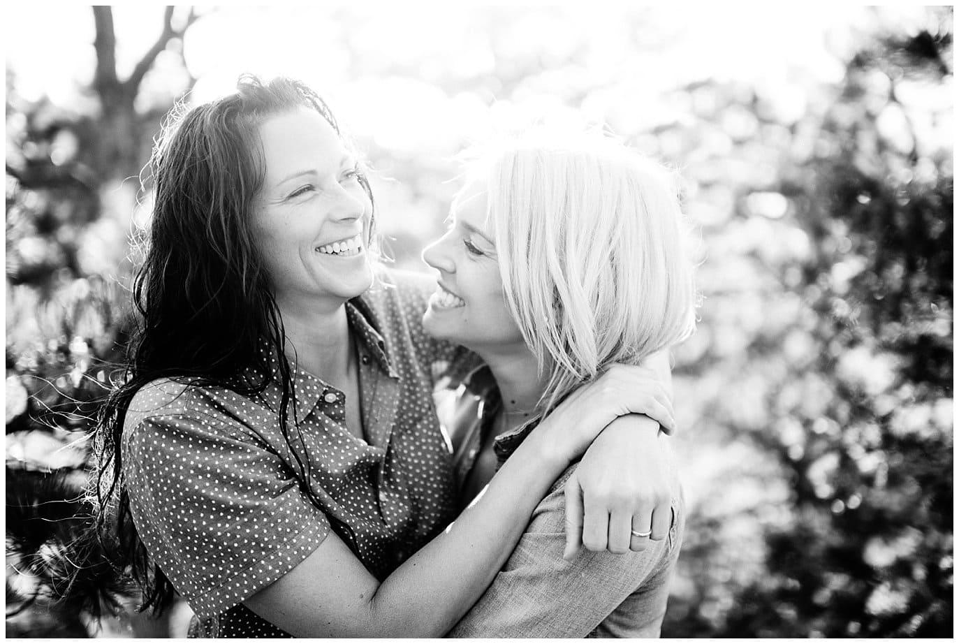black and white engagement photo