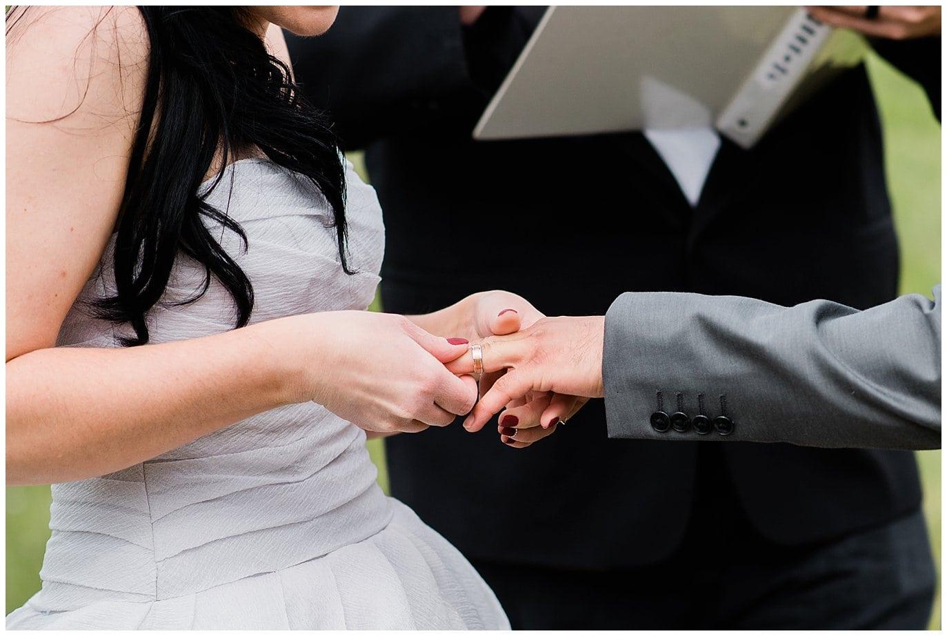 ring exchange intimate Fort Collins wedding photo