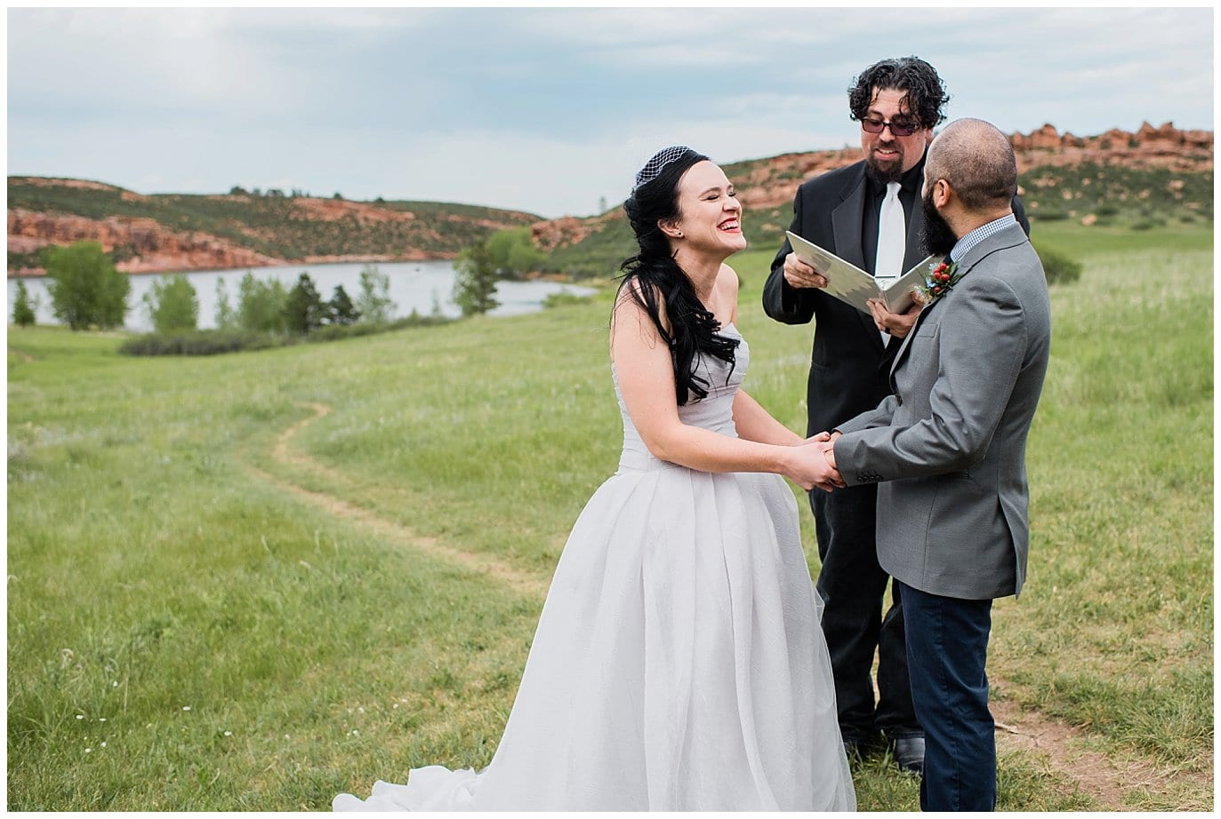 bride laughing at outdoor weding photo