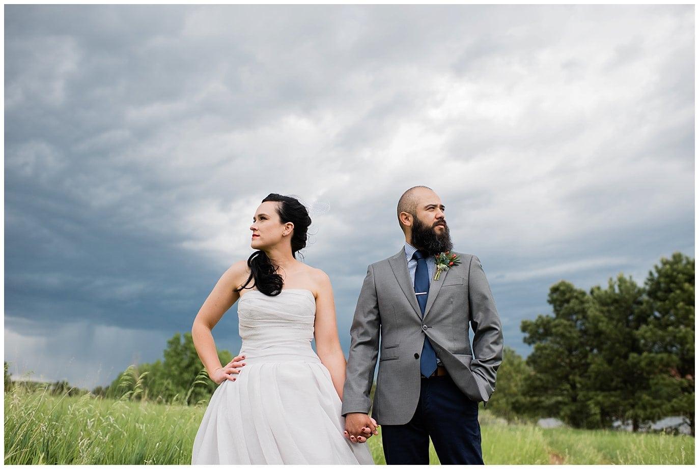 stormy skies bride and groom wedding photo
