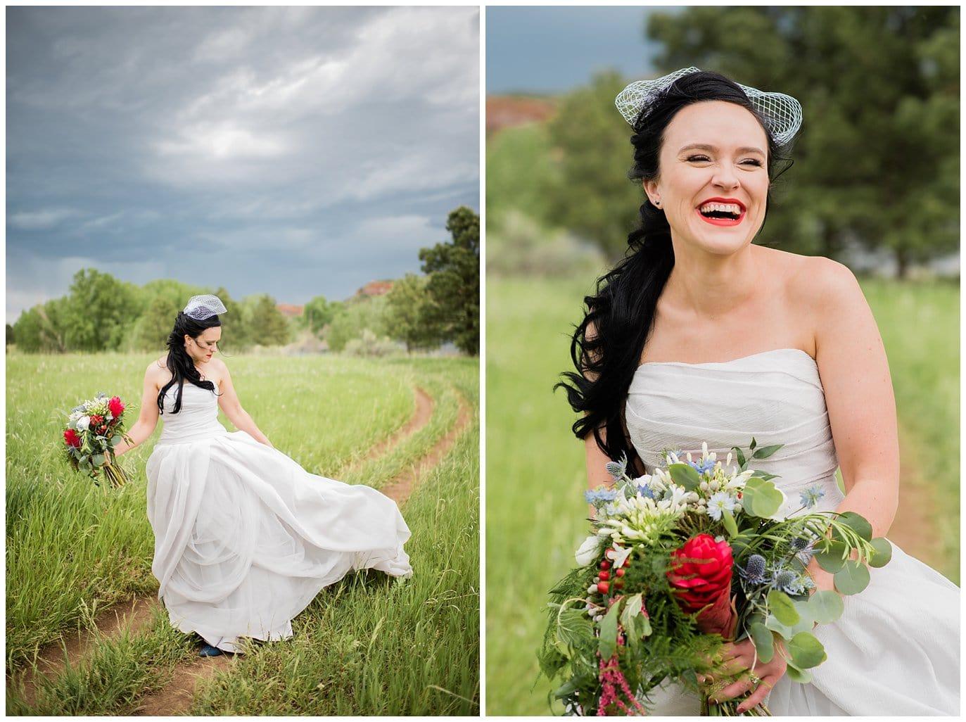 bride in grey dress and birdcage veil photo