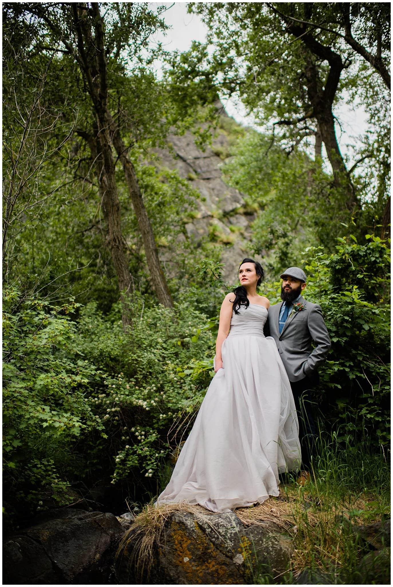Lory state park waterfall wedding photo
