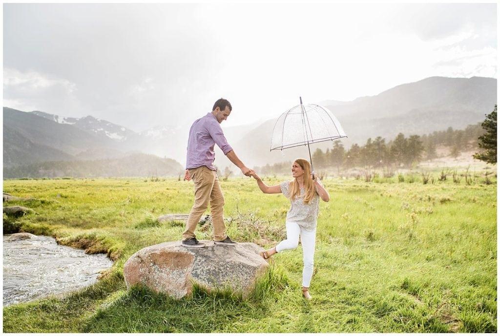 rocky mountain national park rainy engagement photo