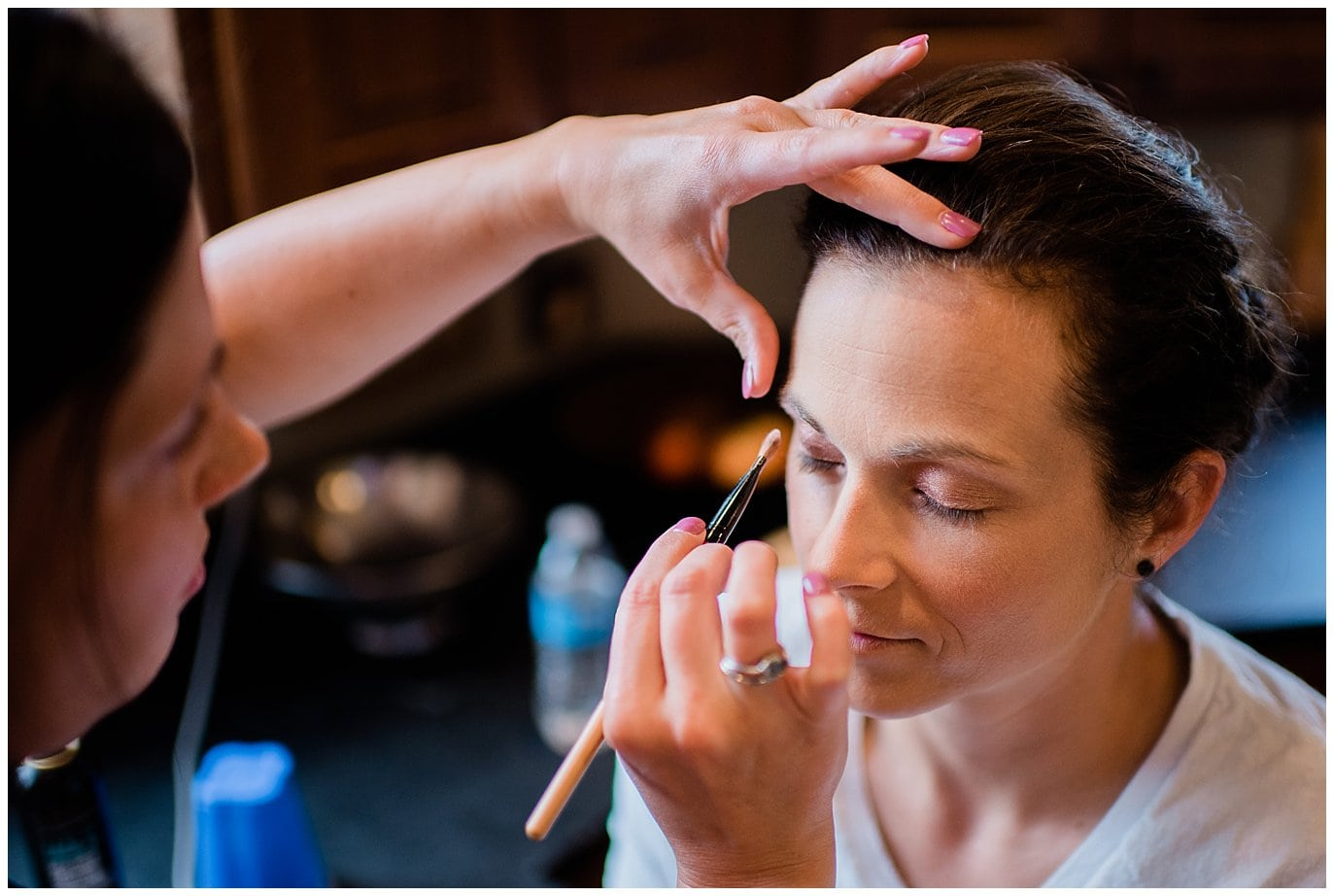 bride getting ready at private home photo