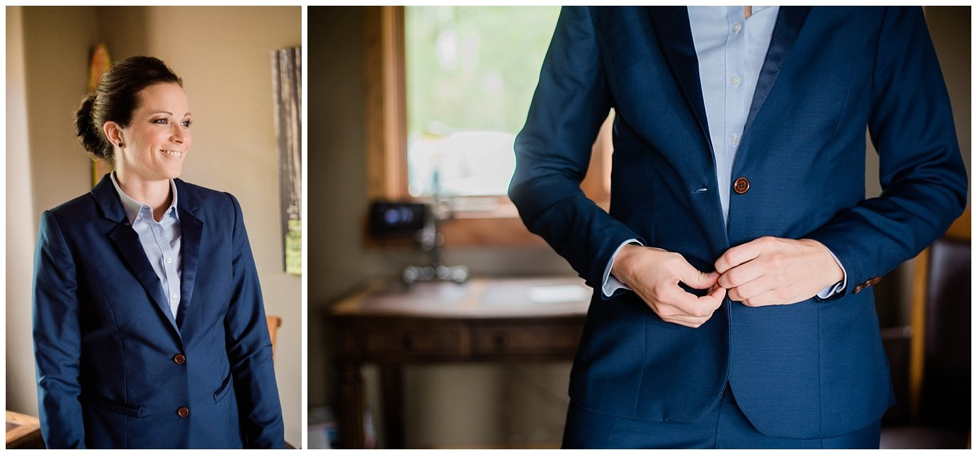 bride in blue navy suit photo