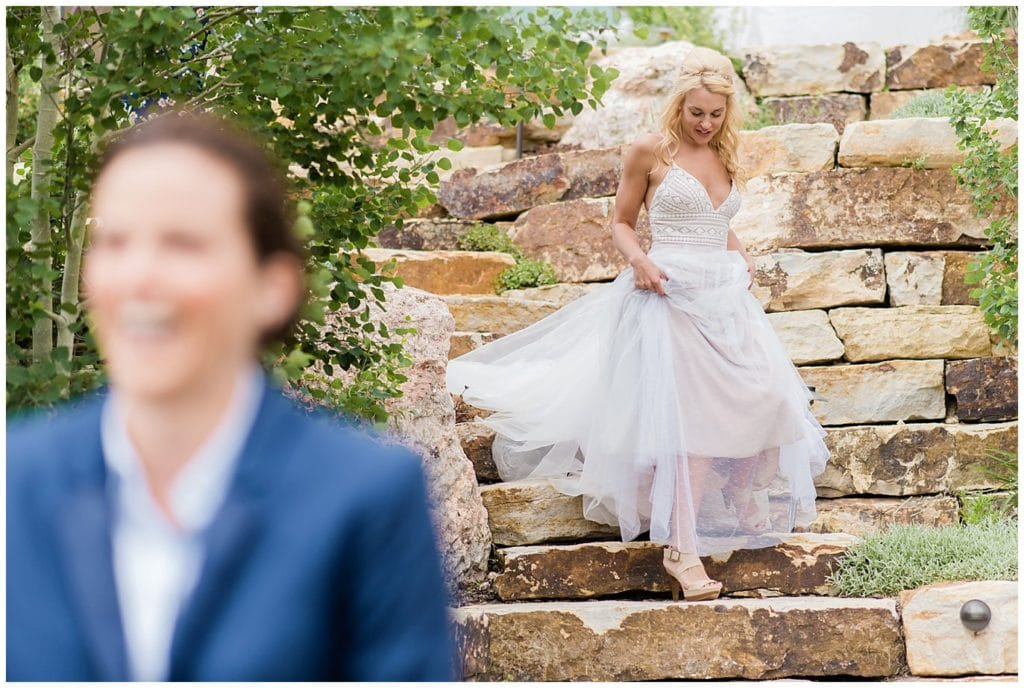 first look between two brides photo