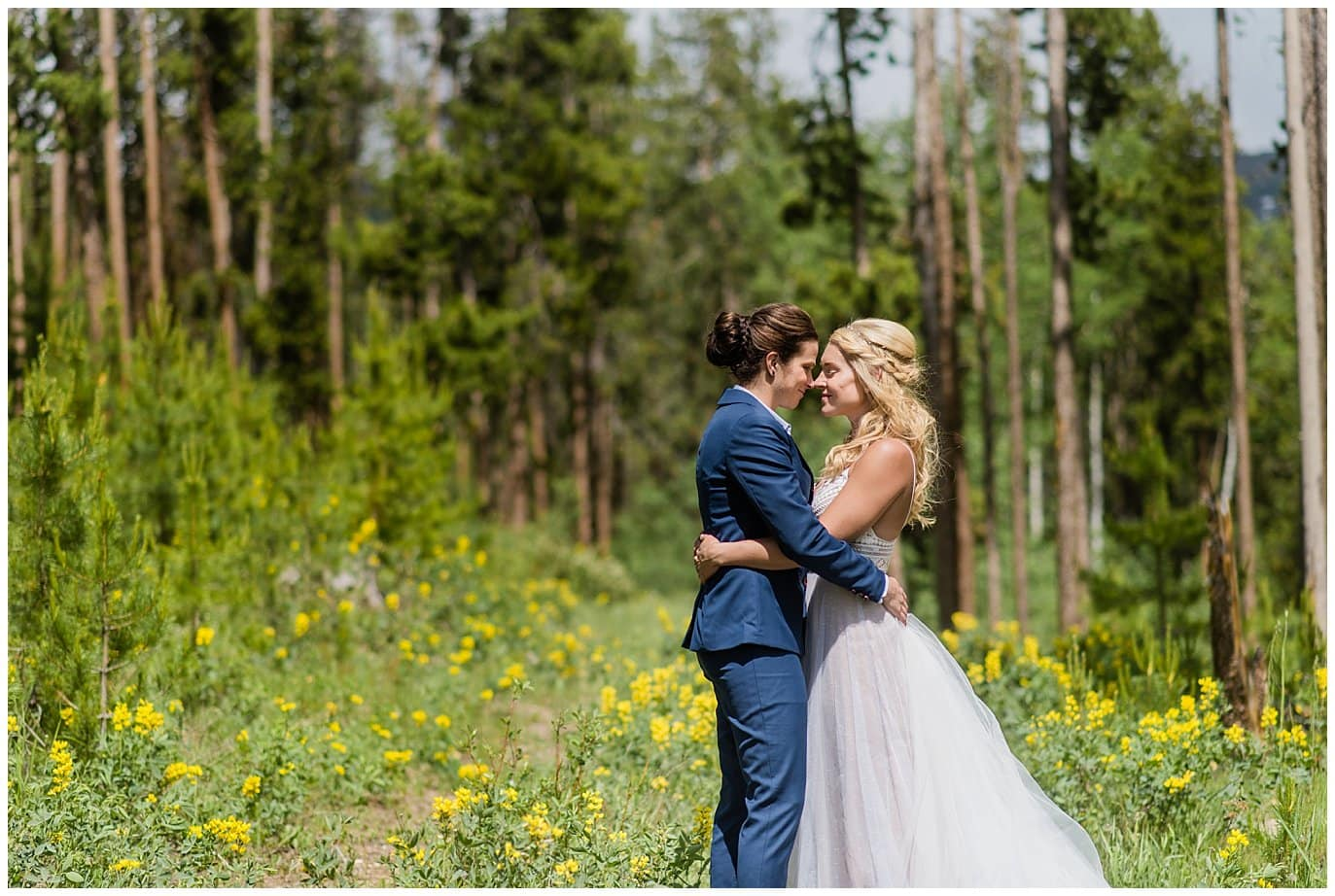 Two brides in Winter Park wildflowers photo