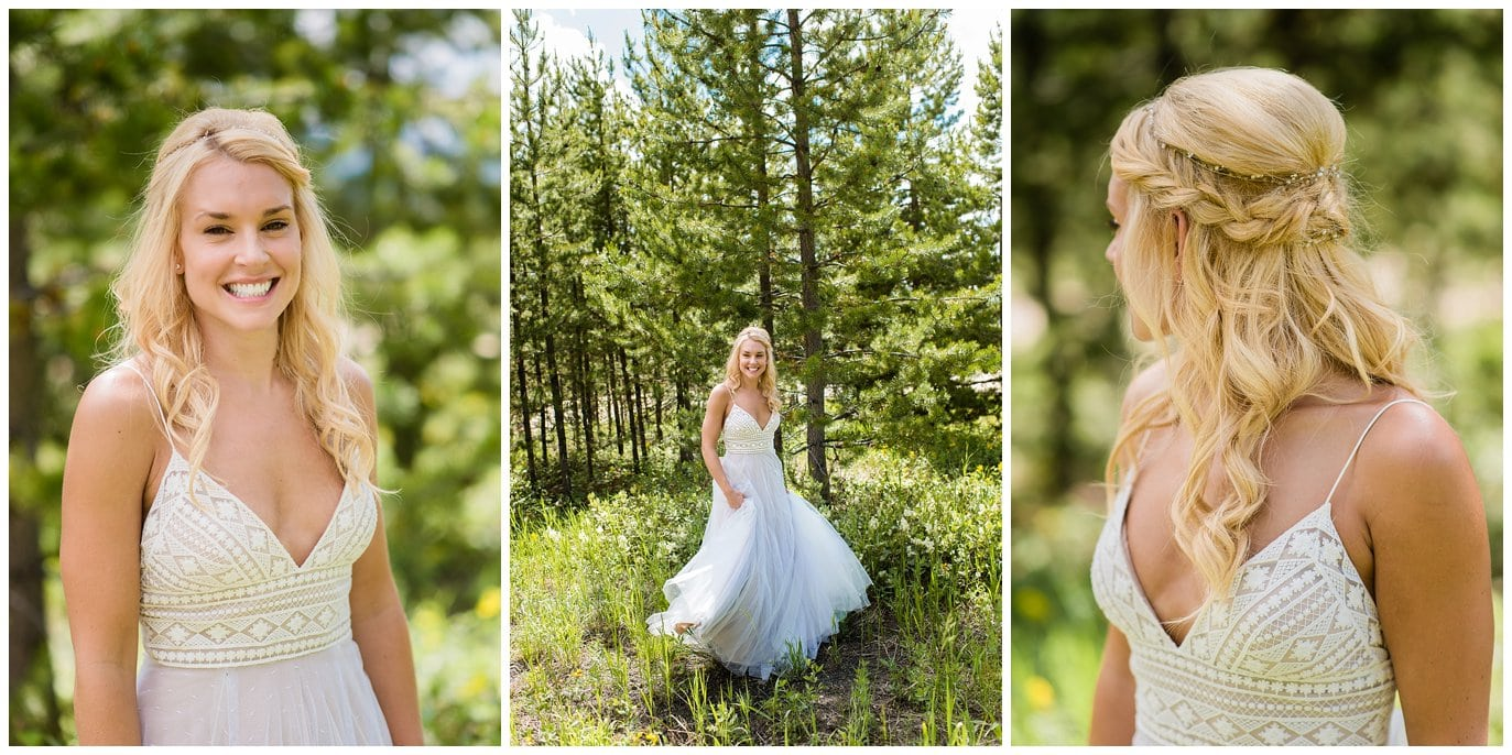 bride with fitted lace dress in Colorado mountains photo