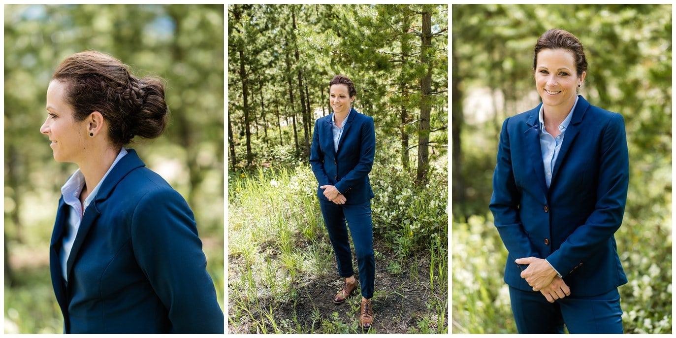 Bride in Colorado mountains in blue suit photo