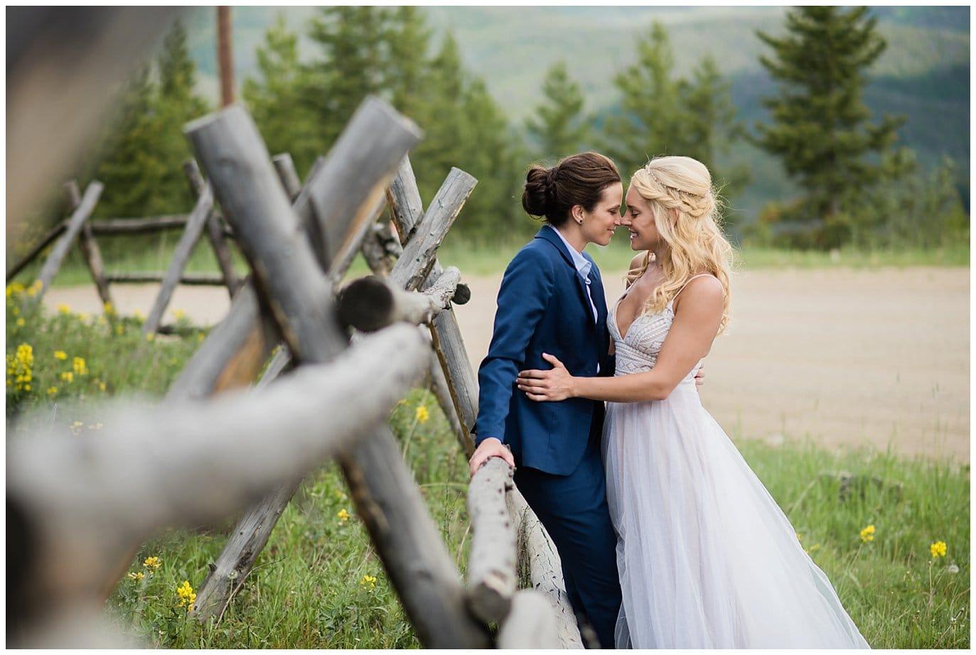 Romantic outdoor mountain wedding photo