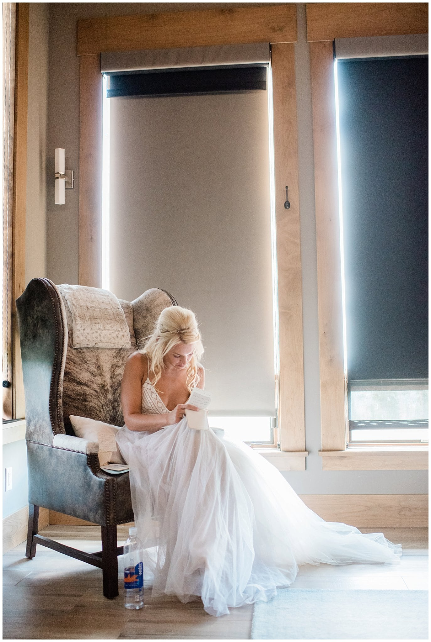 bride writing vows before wedding photo