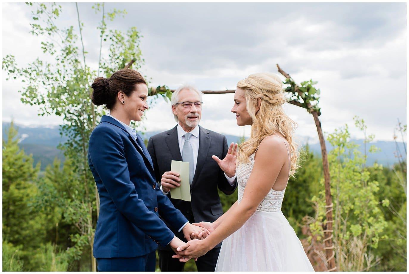 same-sex mountain wedding ceremony photo