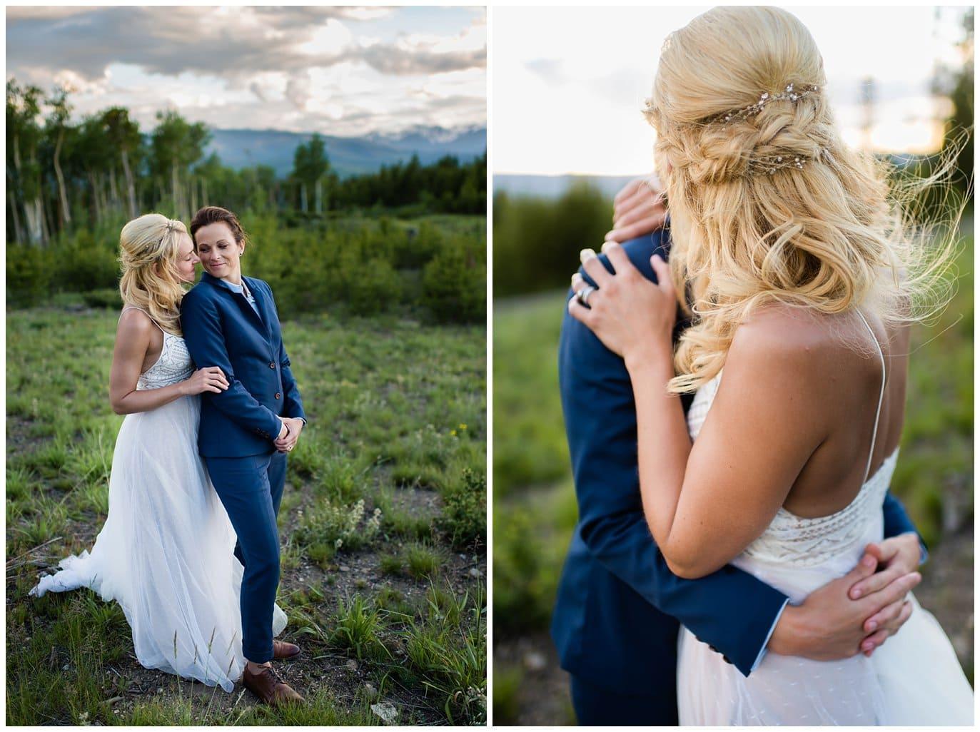 two brides romantic sunset photo