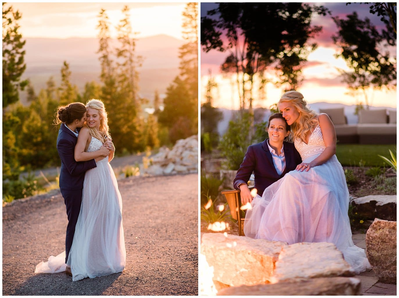 sunset by the firepit at intimate Winter Park Colorado wedding photo
