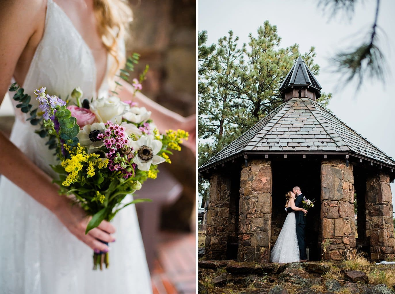 homemade wildflower bridal bouquet at colorado outdoor wedding