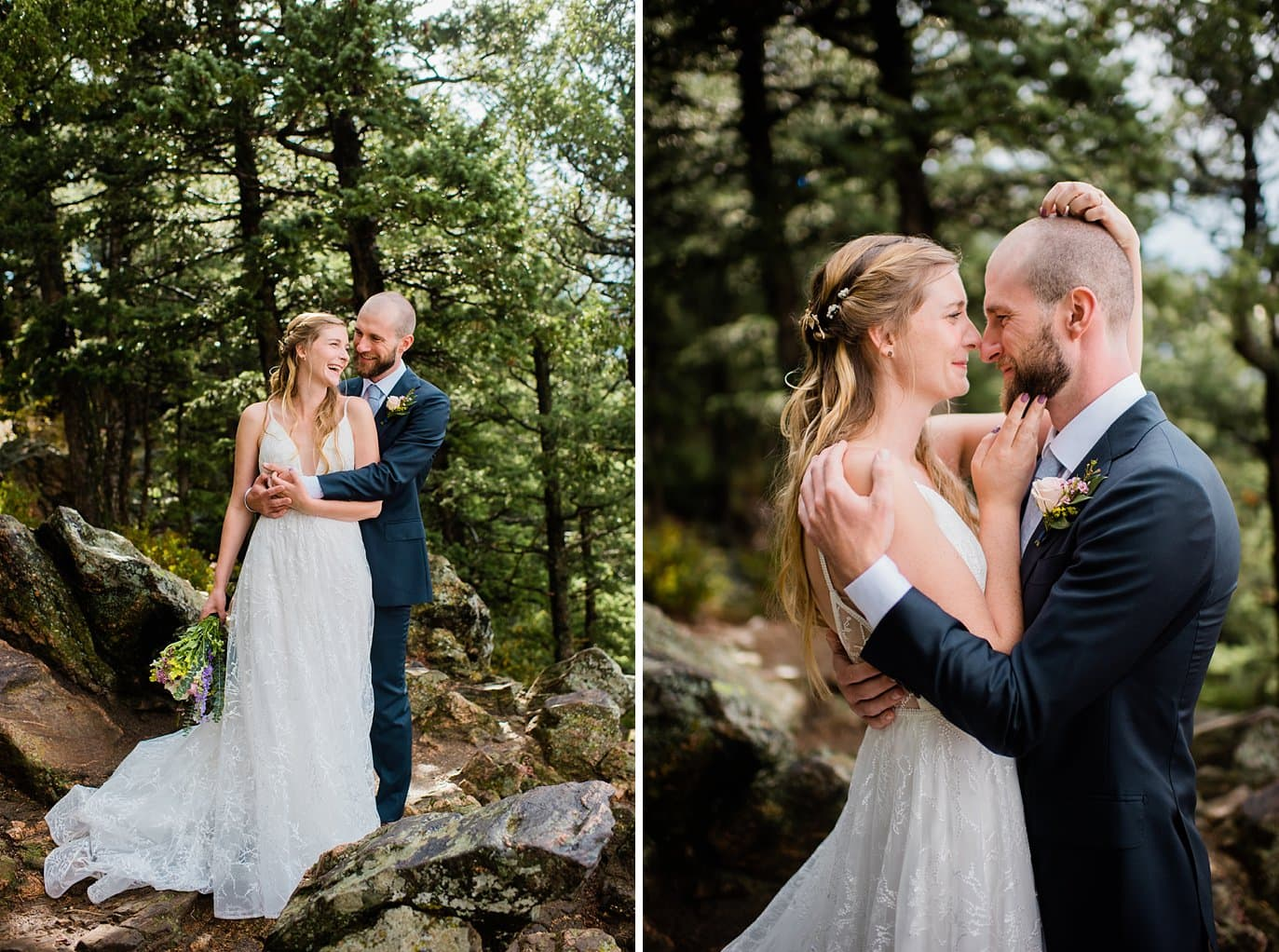 Romantic bride and groom in forest on Colorado wedding day