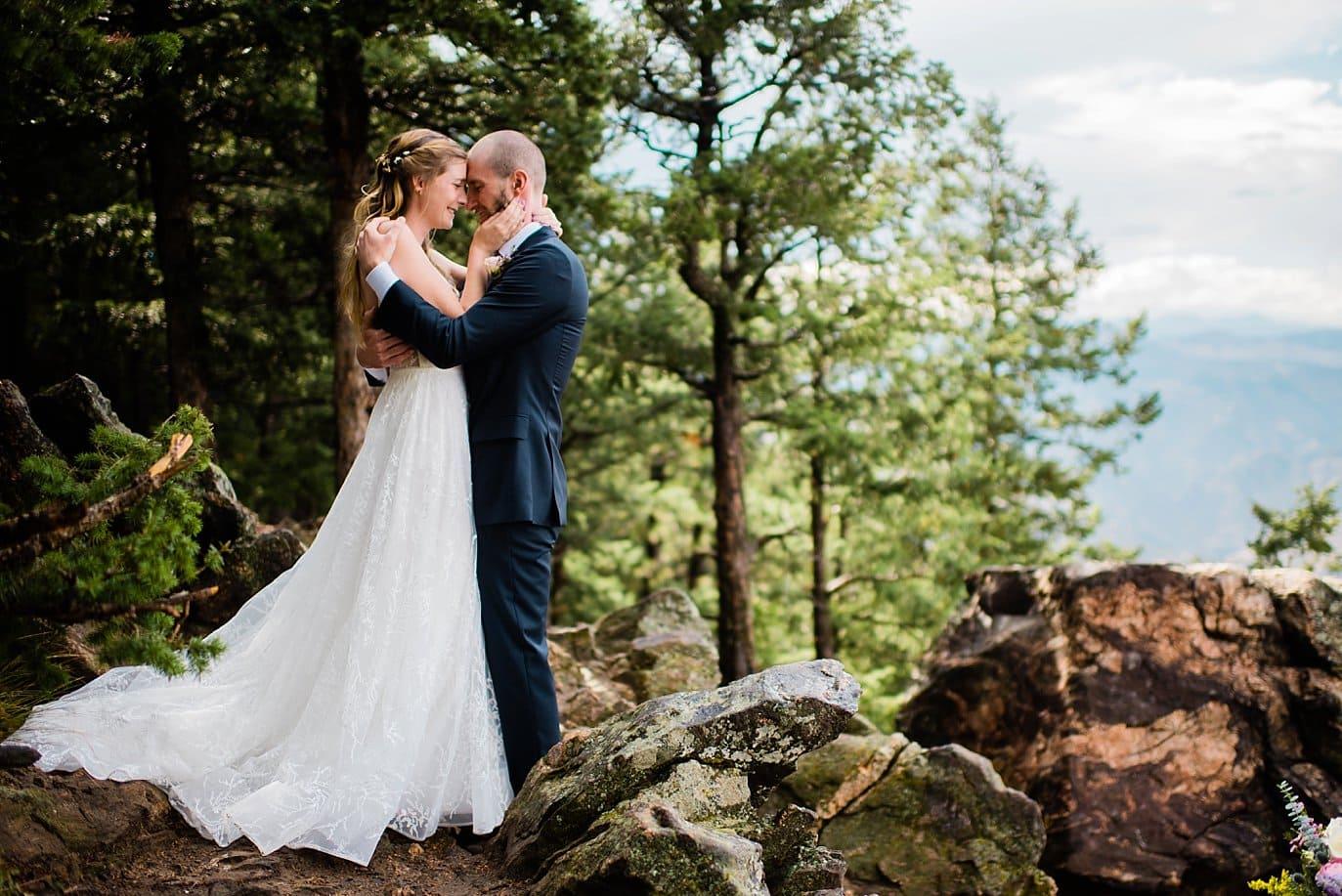 bride and groom romantic portrait Golden Colorado wedding