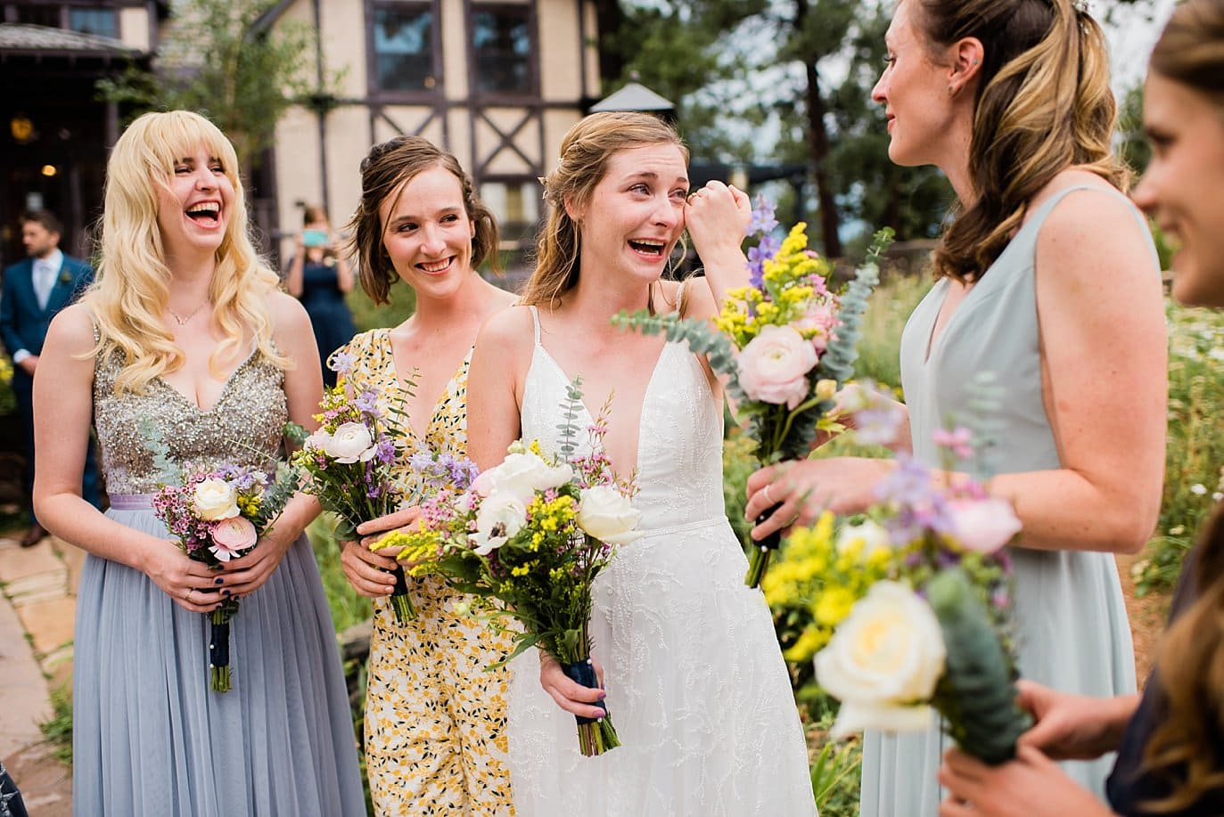 emotional bride and bridesmaids at lookout mountain wedding