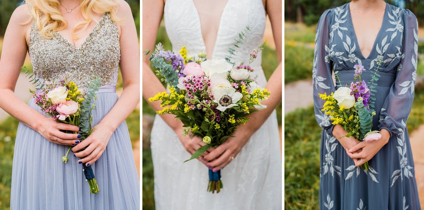 mismatched blue bridesmaid dresses with wildflower bouquet at golden outdoor wedding