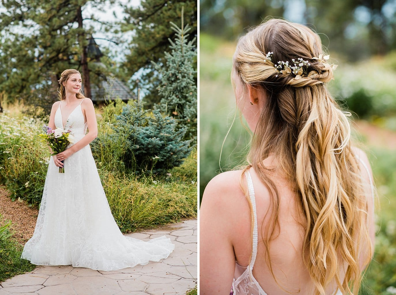 gold leaf bridal hairpiece with half up hairdo