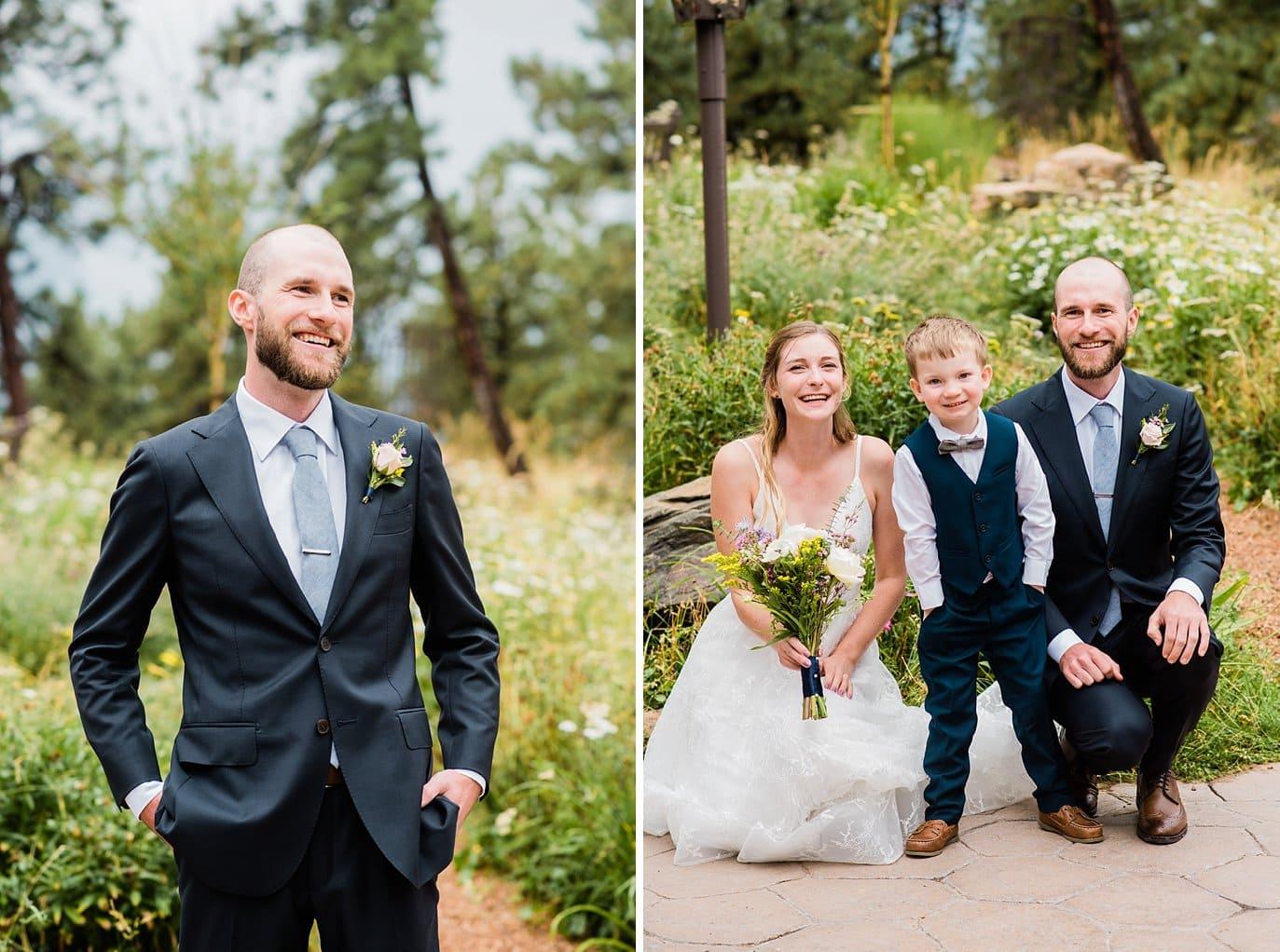 groom in navy suite with periwinkle tie and ring bearer colorado wedding