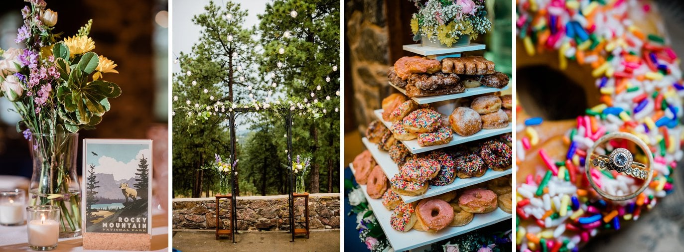 ceremony arch with string lights and ring shot with donut