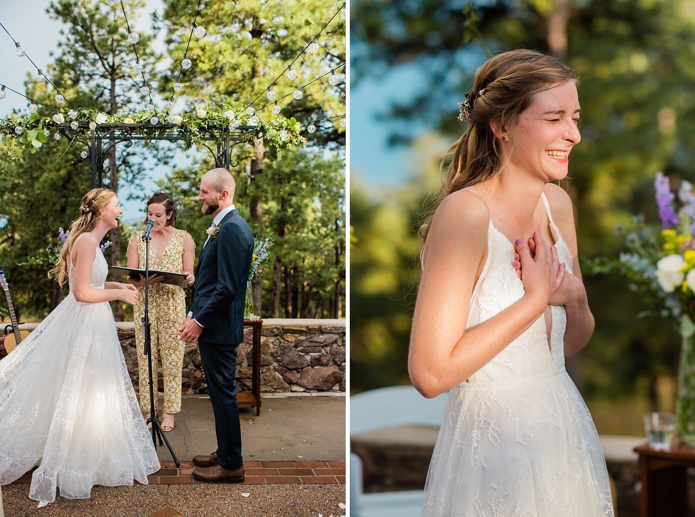 bride listening to vows golden wedding