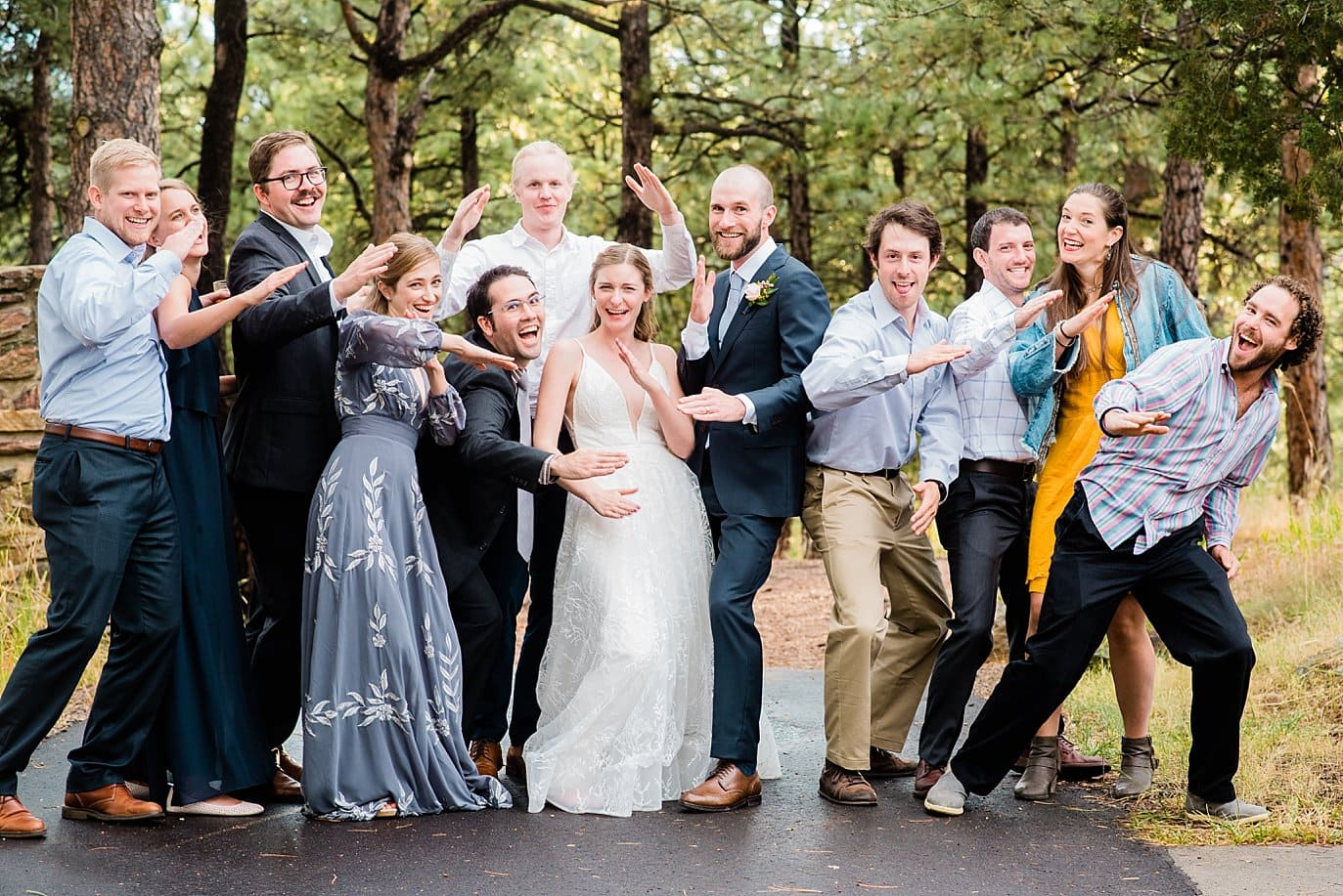 best friends group photo outdoor wedding