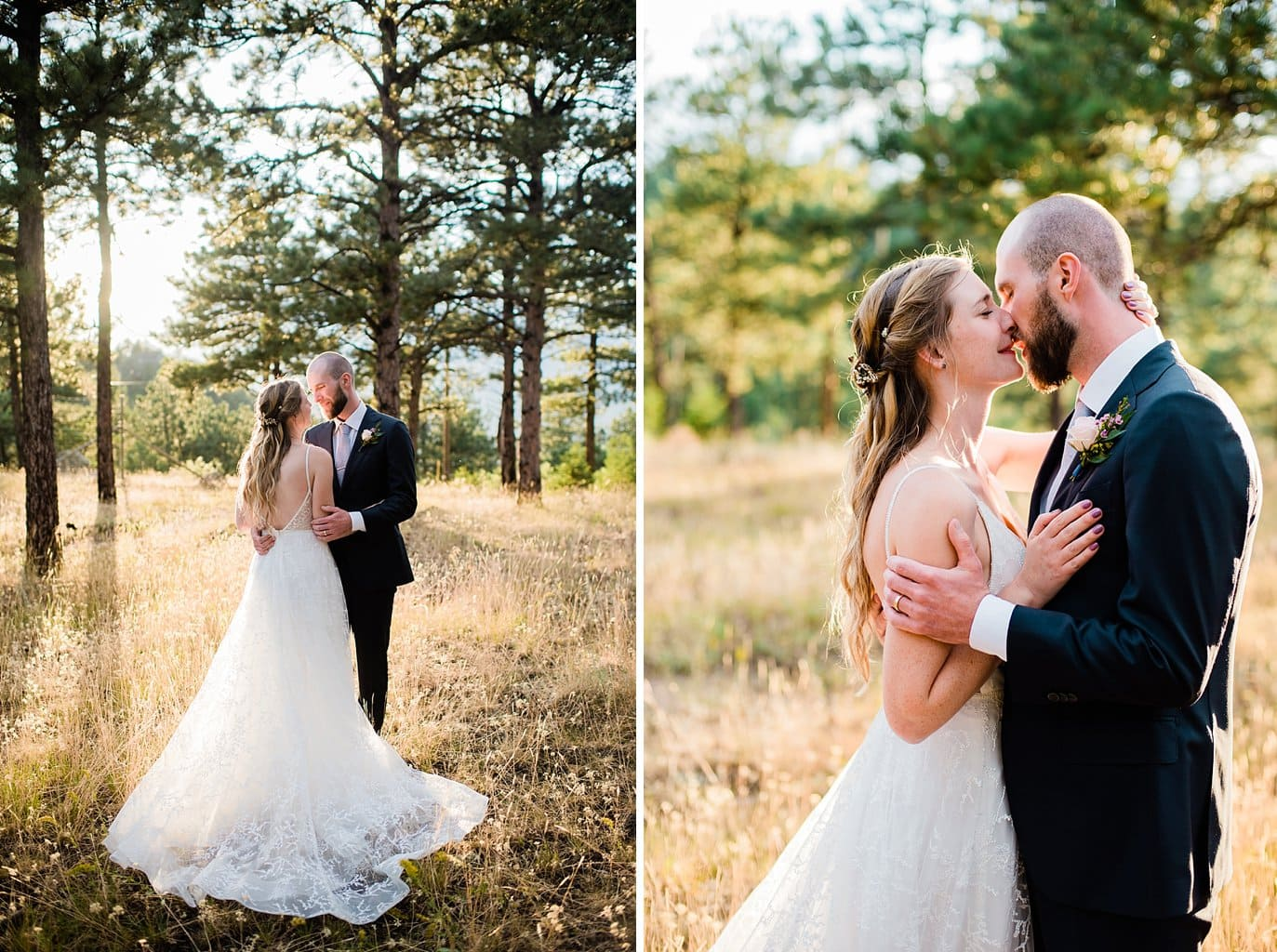 bride and groom romantic portraits at sunset Denver colorado wedding