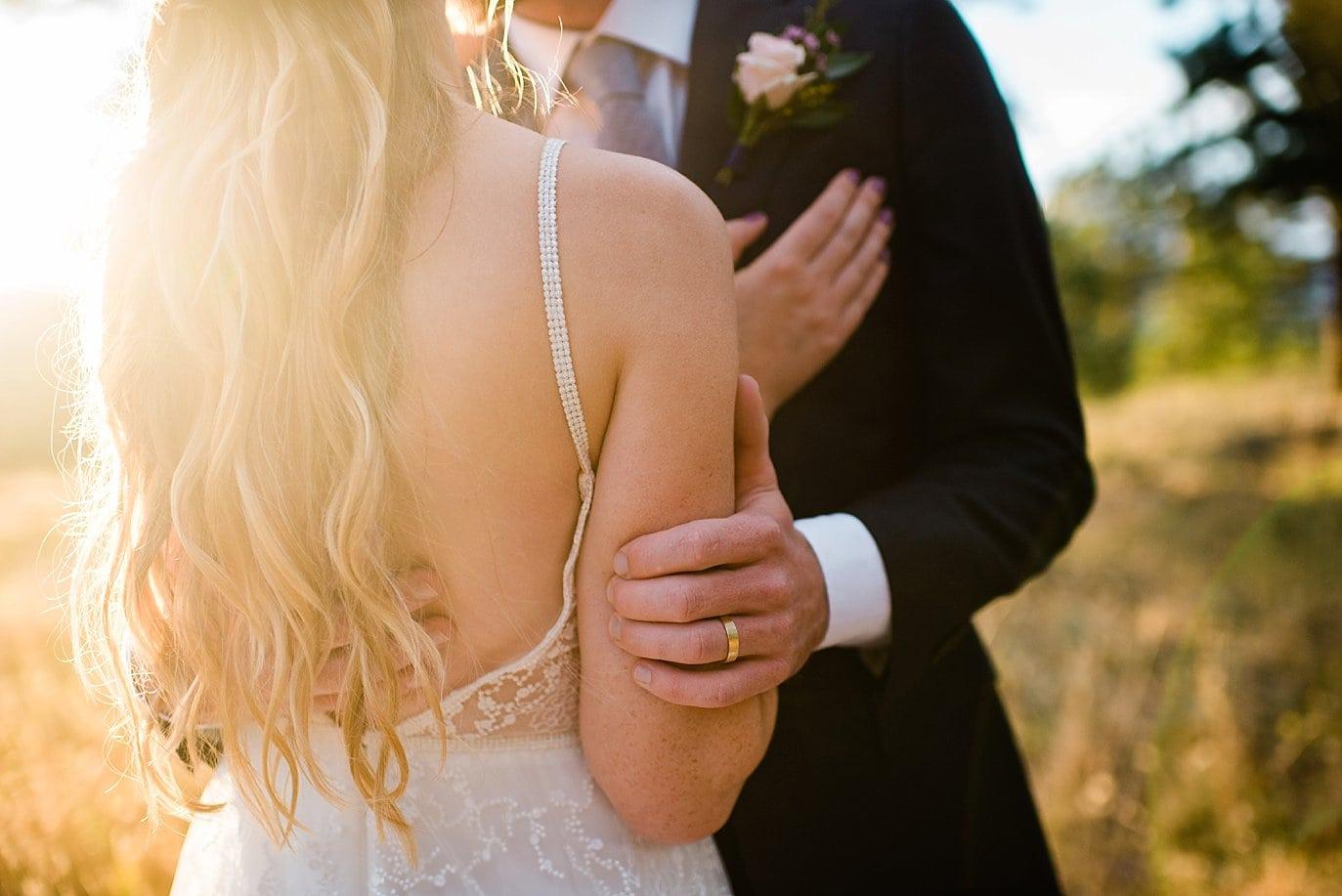 intimate bride and groom sunset photo at colorado wedding