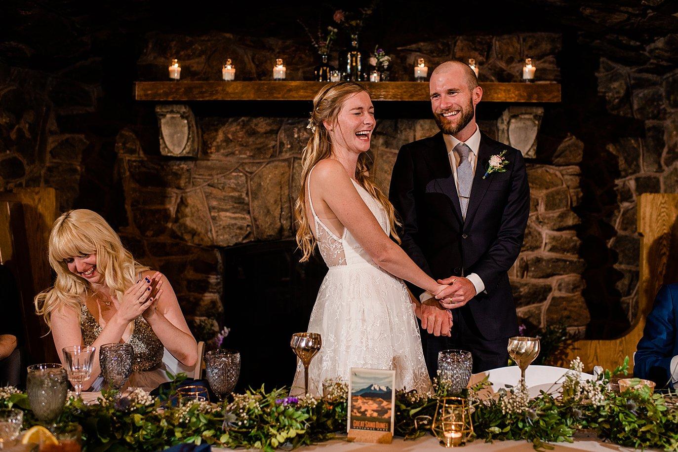 bride and groom thank guest at Boettcher Mansion wedding