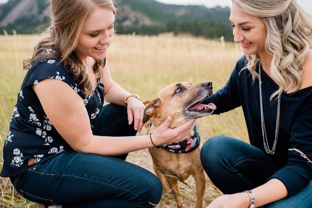 lesbian couple with dog Chautaqua Park engagement by Boulder engagement photographer Jennie Crate