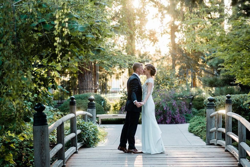 Bride and groom in Asian gardens at Denver Botanic Gardens wedding by Denver Wedding Photographer Jennie Crate