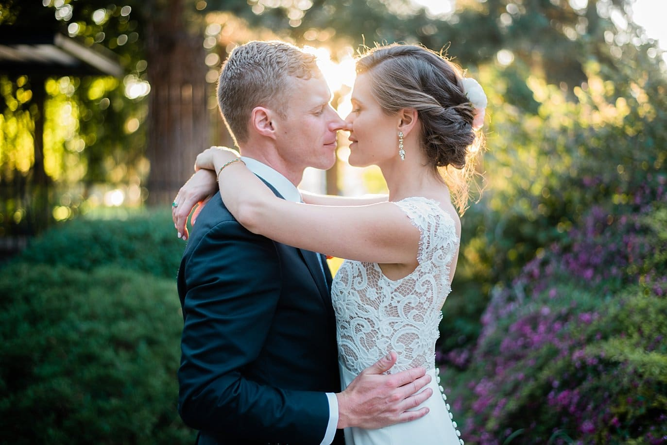 bride and groom intimate sunset portrait in Asian gardens at Denver Botanic Gardens wedding by Boulder Wedding Photographer Jennie Crate