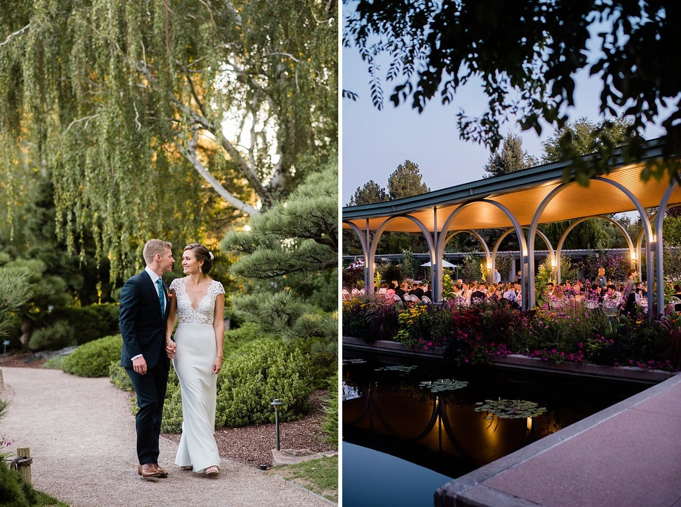 the Annuals Pavilion twilight al fresco dinner at Denver Botanic Gardens wedding by Denver Wedding Photographer Jennie Crate
