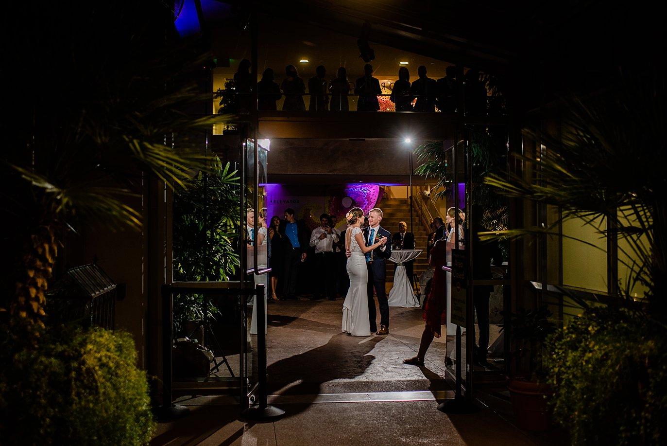 bride and groom first dance in Marnie's pavilion at Denver Botanic Gardens by Denver wedding photographer Jennie Crate