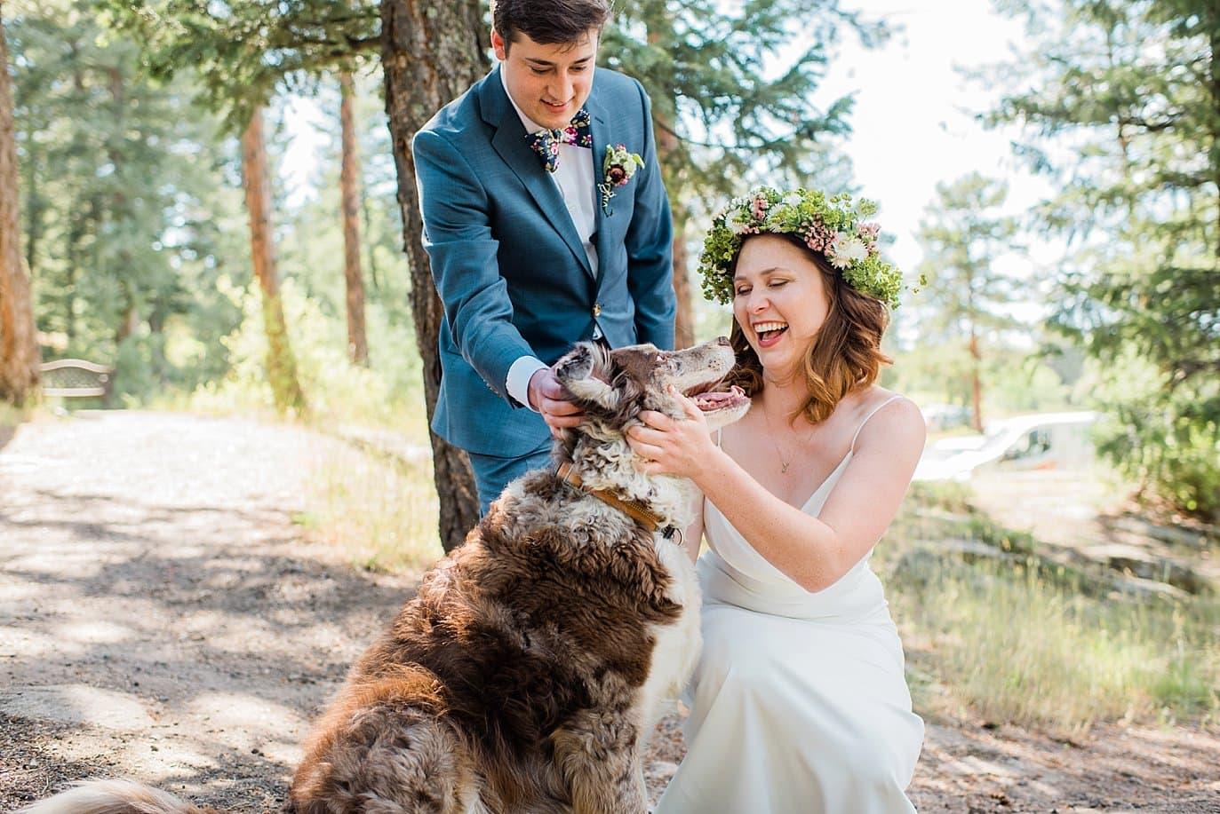 bride and groom with dog colorado wedding photo