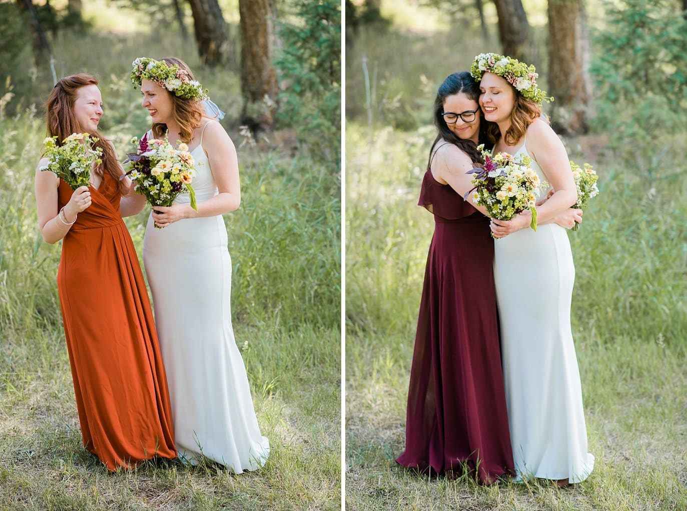 bride and bridesmaids in jewel toned dresses photo