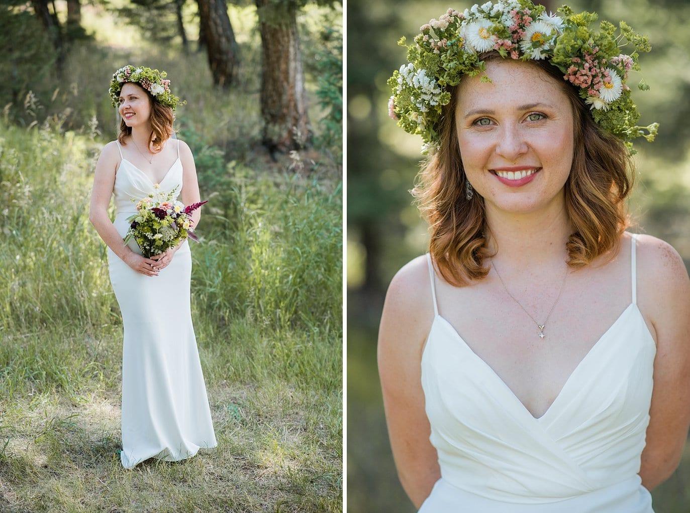bride in BHLDN wedding dress with wildflower flower crown photo