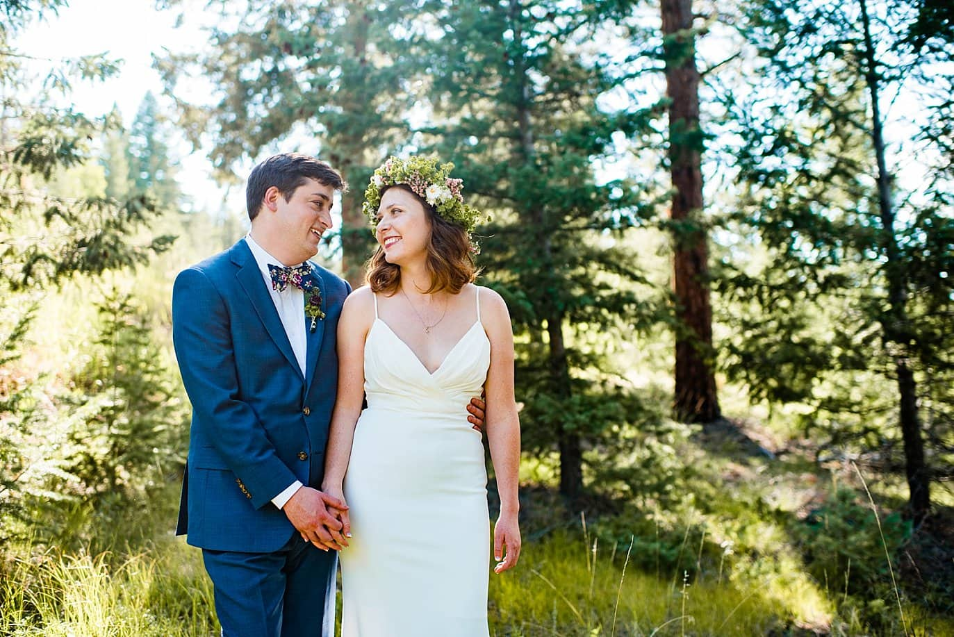 Evergreen Red Barn bride and groom photo