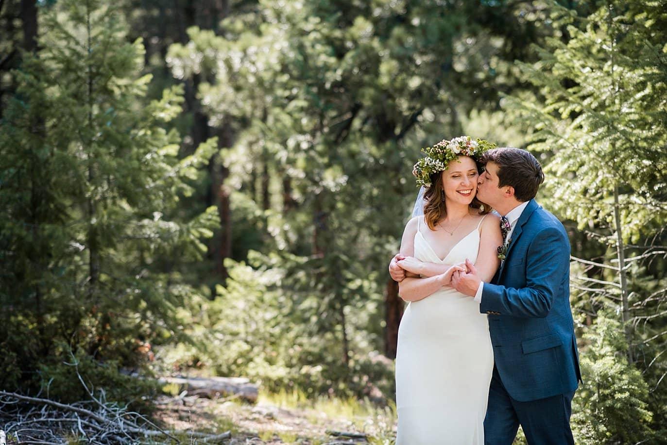 intimate Evergreen Red Barn wedding photo