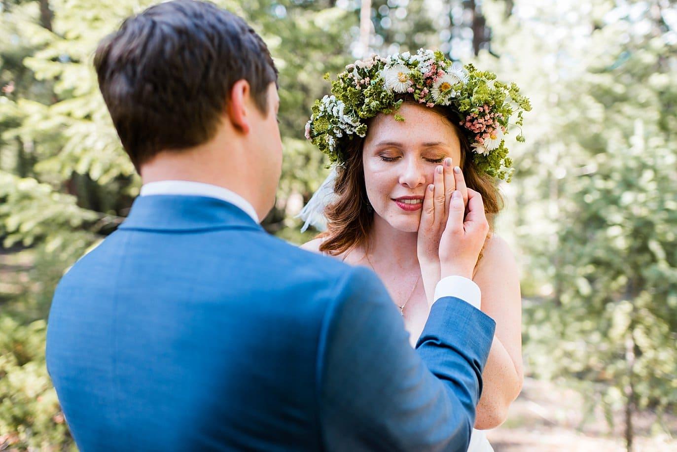 emotional bride in wildflower flower crown photo