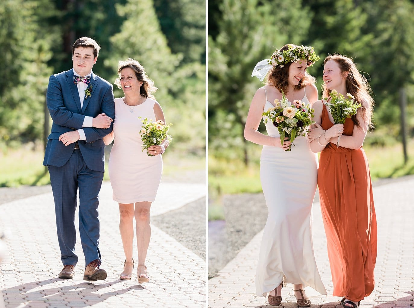 bride and groom walk down aisle at Evergreen outdoor wedding photo
