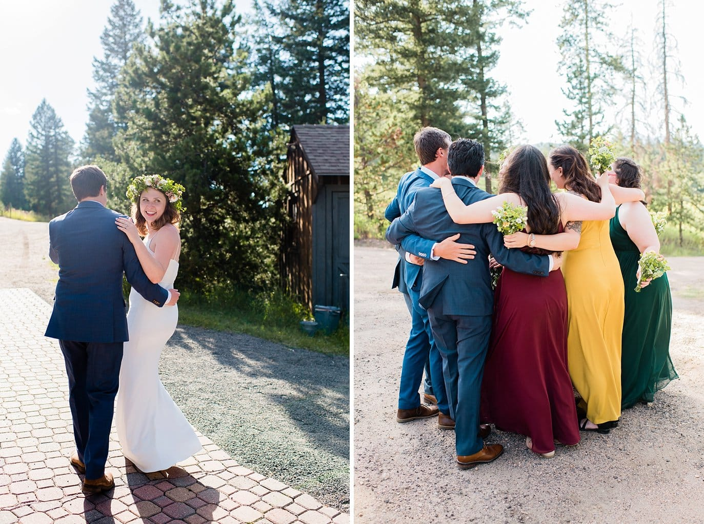 celebratory bridal party hug after outdoor ceremony photo
