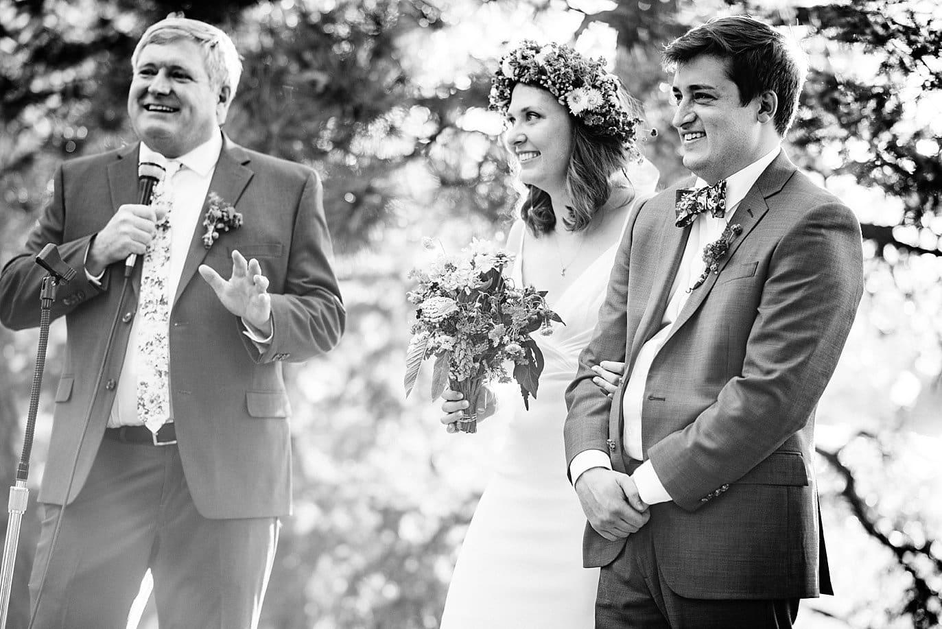 outdoor toasts at Evergreen Memorial Barn wedding photo